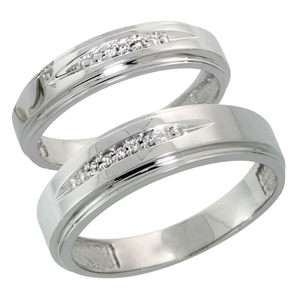 Sterling Silver Diamond 2 Piece Wedding Ring Set His 6mm & Hers 5mm Rhodium finish, Men's Size 8 to 14