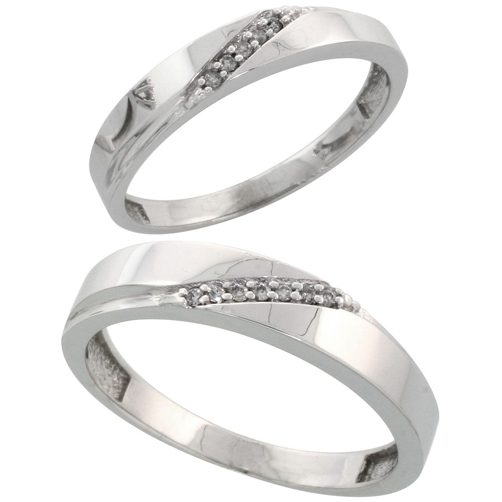 Sterling Silver Diamond 2 Piece Wedding Ring Set His 4.5mm & Hers 3.5mm Rhodium finish, Men's Size 8 to 14