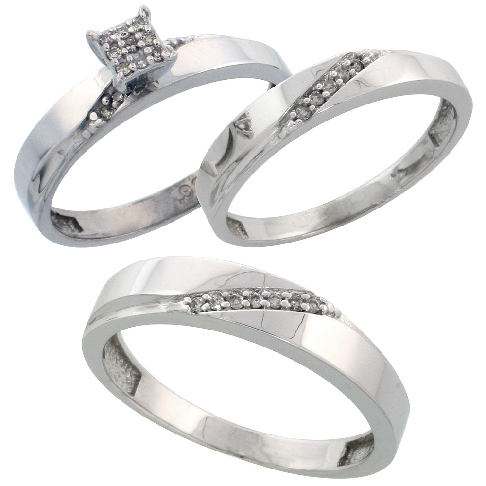 Sterling Silver Diamond Trio Wedding Ring Set His 4.5mm & Hers 3.5mm Rhodium finish, Men's Size 8 to 14