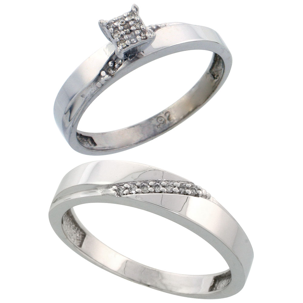 Sterling Silver 2-Piece Diamond wedding Engagement Ring Set for Him and Her Rhodium finish, 3.5mm & 4.5mm wide