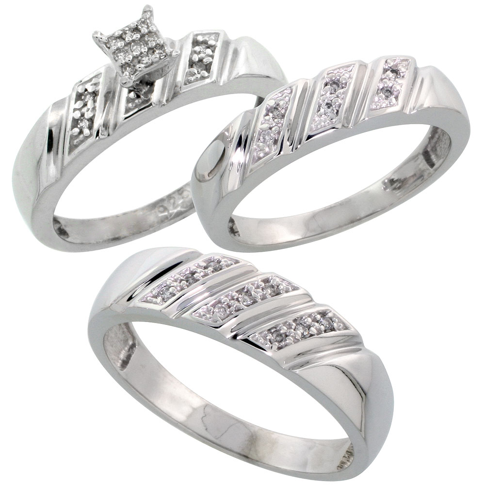 Sterling Silver Diamond Trio Wedding Ring Set His 6mm & Hers 5mm Rhodium finish, Men's Size 8 to 14