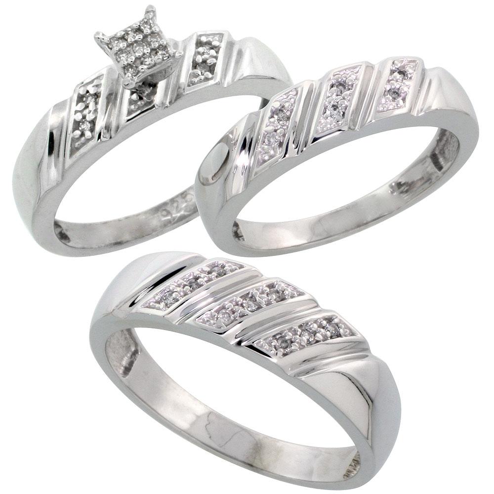 Sterling Silver Diamond Trio Wedding Ring Set His 6mm Hers 5mm Rhodium Finish Men S