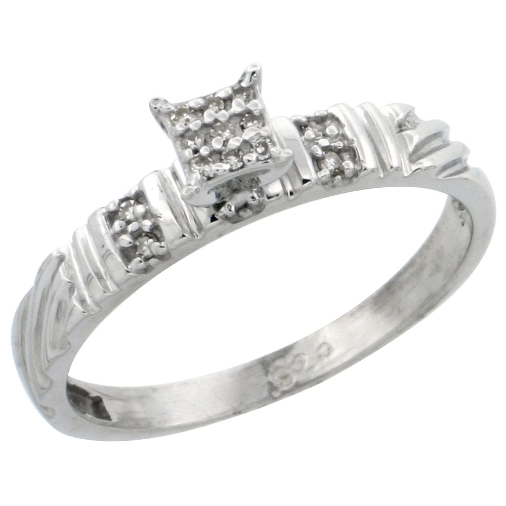 Sterling Silver Diamond Engagement Ring Rhodium finish, 1/8inch wide