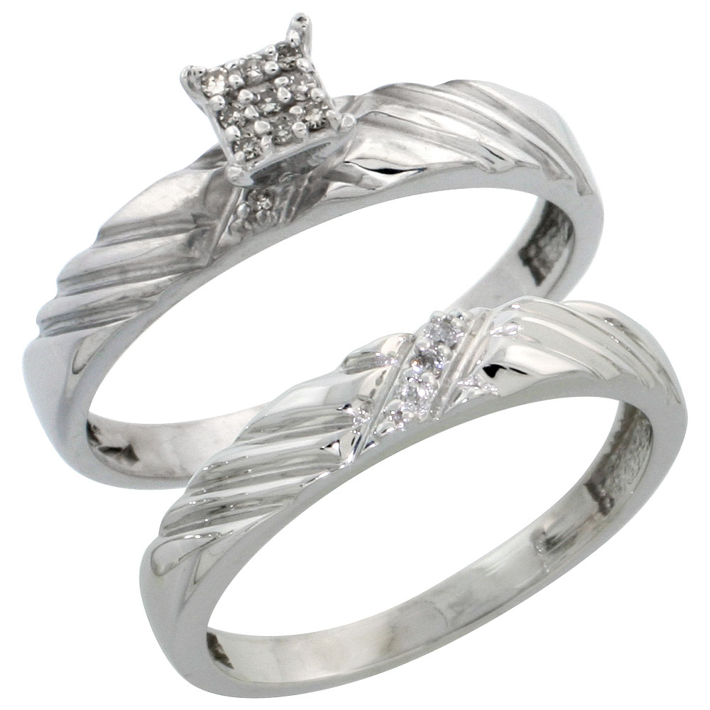 Sterling Silver Ladies 2-Piece Diamond Engagement Wedding Ring Set Rhodium finish, 1/8 inch wide
