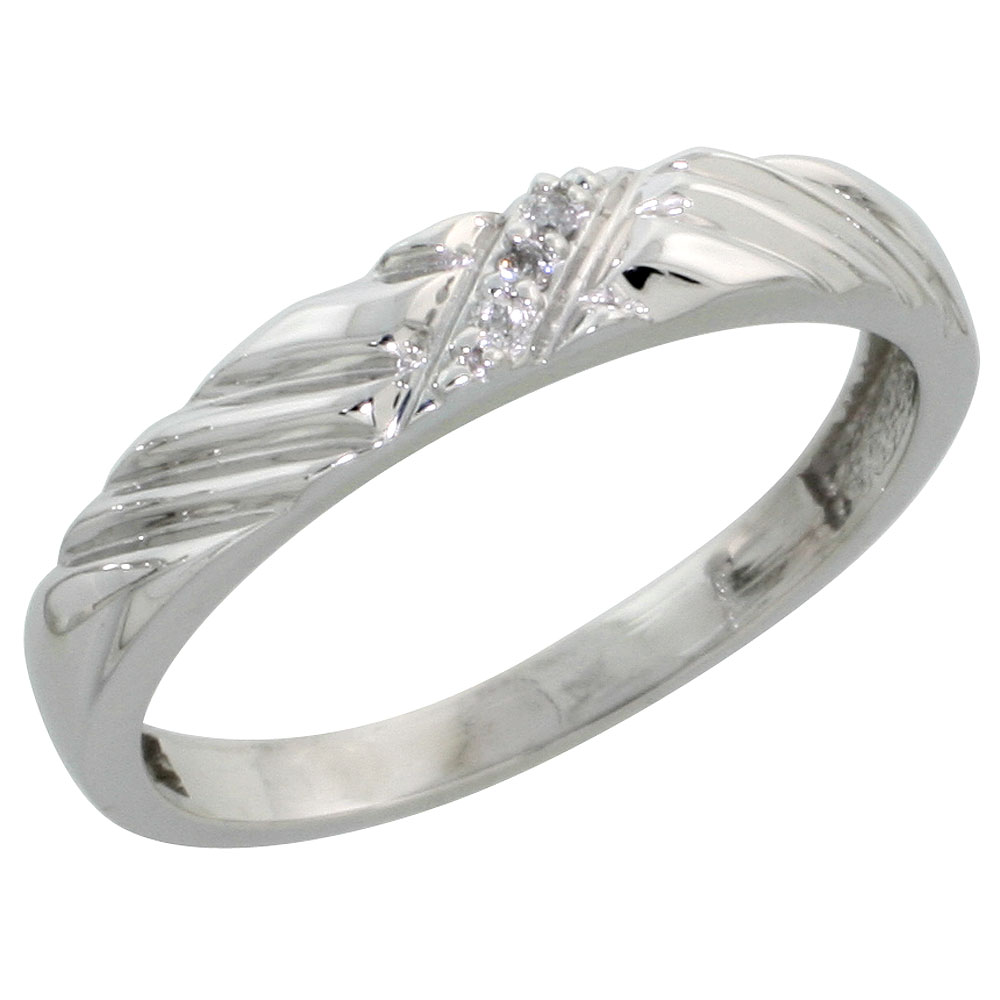 Sterling Silver Ladies Diamond Wedding Band Rhodium finish, 1/8 inch wide