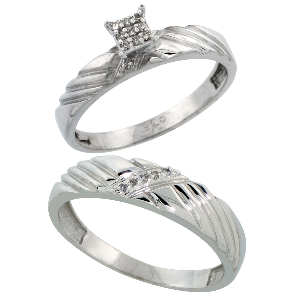 Sterling Silver 2-Piece Diamond wedding Engagement Ring Set for Him and Her Rhodium finish, 3.5mm & 5mm wide