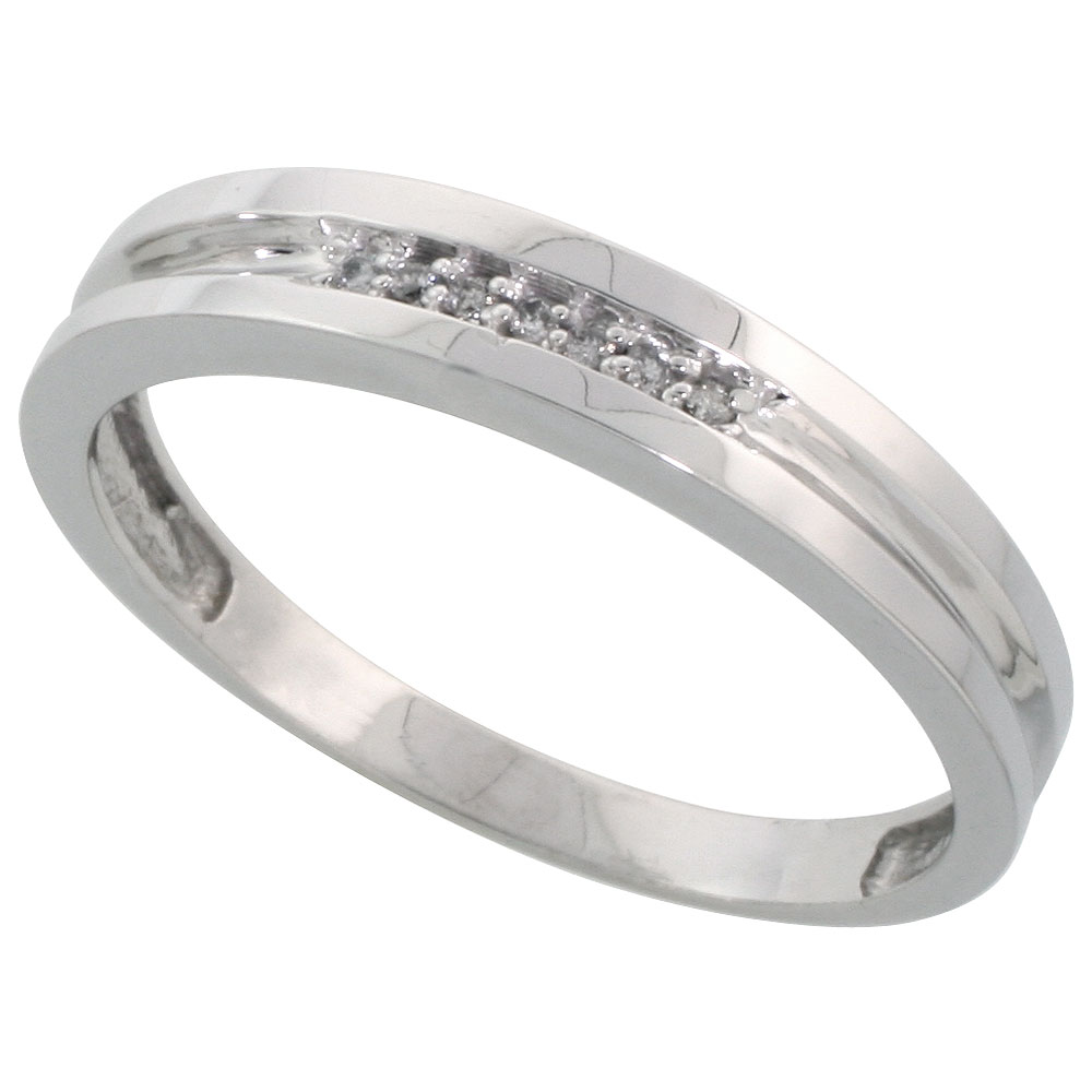 Sterling Silver Men's Diamond Wedding Band Rhodium finish, 5/32 inch wide