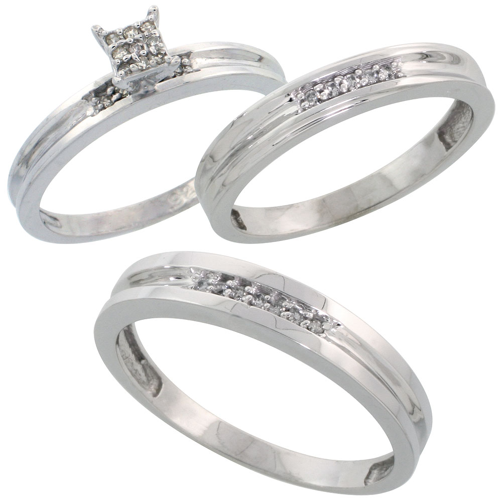 Sterling Silver Diamond Trio Wedding Ring Set His 4mm & Hers 3.5mm Rhodium finish, Men's Size 8 to 14