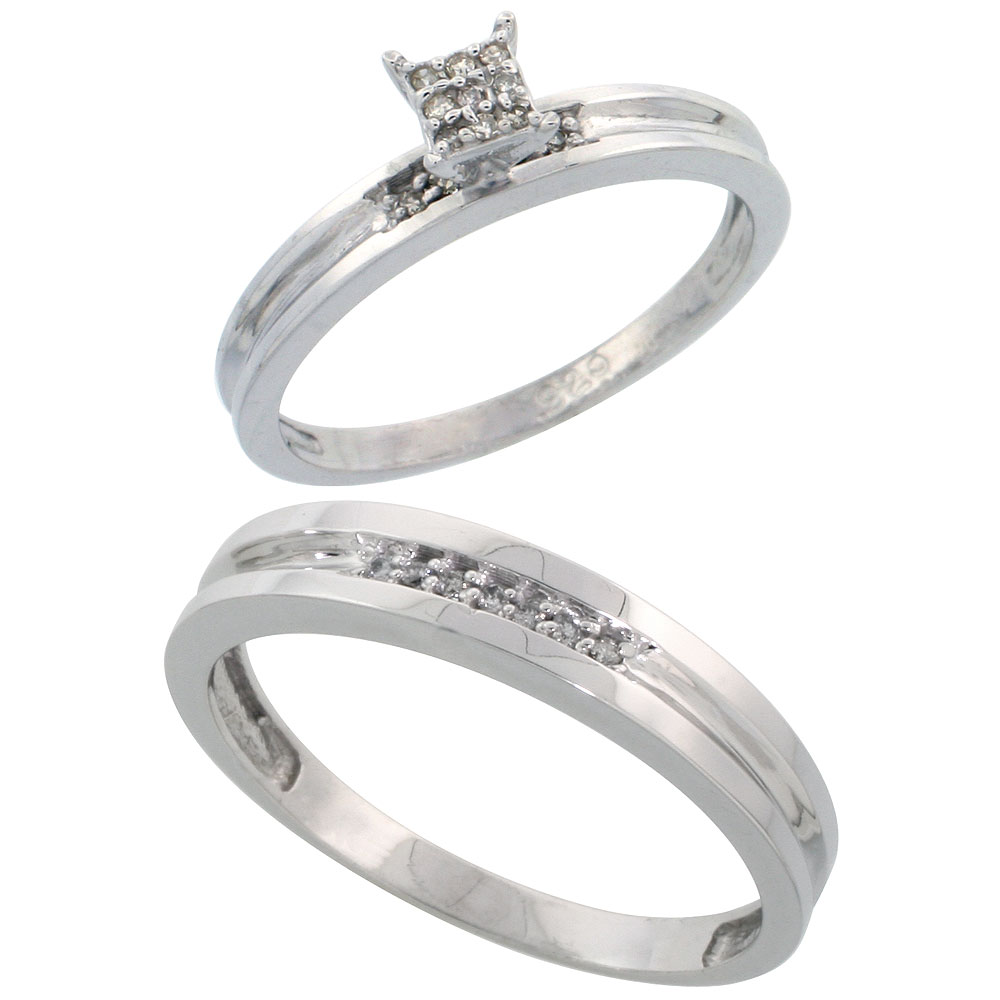 Sterling Silver 2-Piece Diamond wedding Engagement Ring Set for Him and Her Rhodium finish, 3.5mm & 4mm wide