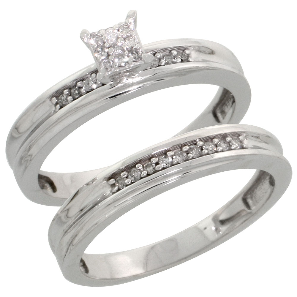 Sterling Silver Ladies? 2-Piece Diamond Engagement Wedding Ring Set Rhodium finish, 1/8 inch wide
