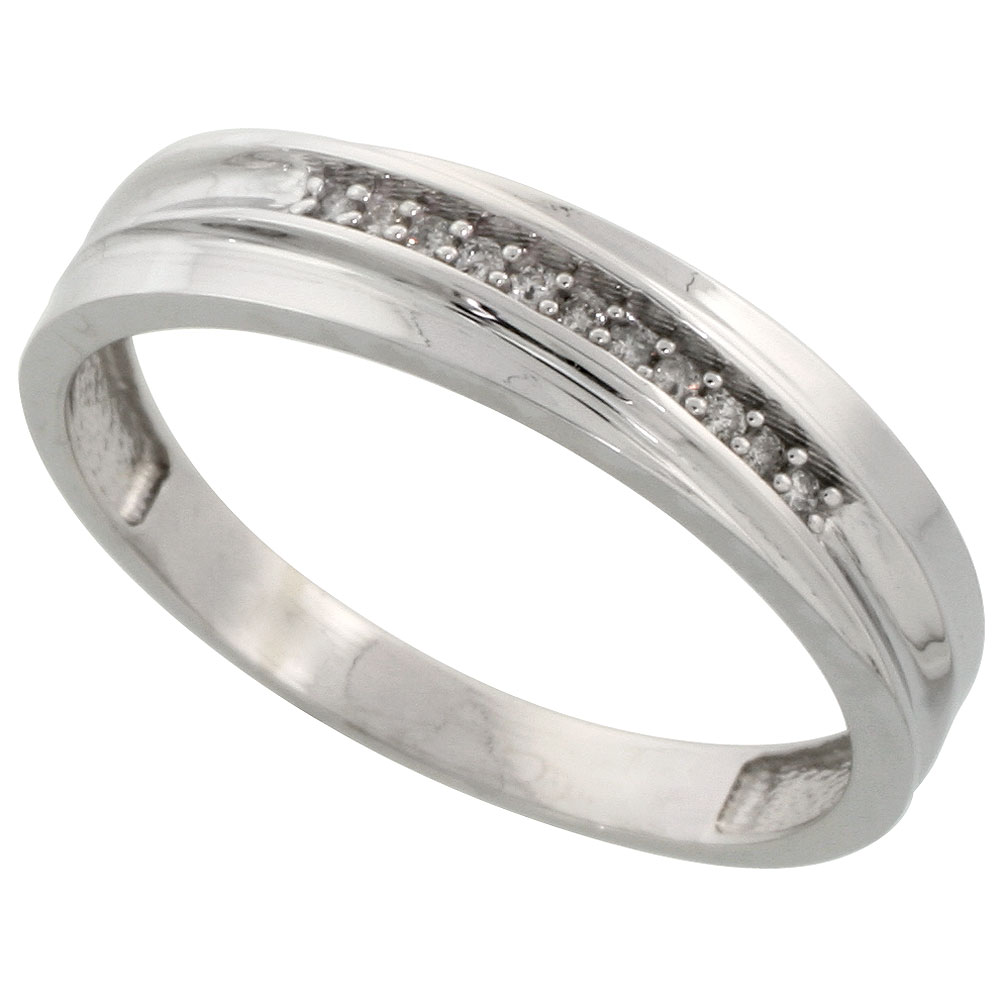 Sterling Silver Men's Diamond Wedding Band Rhodium finish, 3/16 inch wide