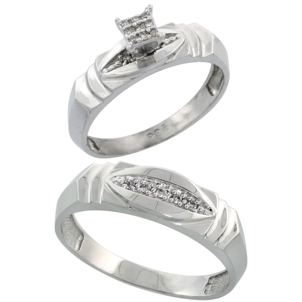 Sterling Silver 2-Piece Diamond wedding Engagement Ring Set for Him and Her Rhodium finish, 5mm & 6mm wide