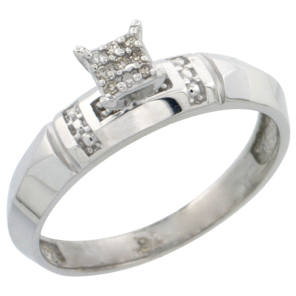 Sterling Silver Diamond Engagement Ring Rhodium finish, 5/32 inch wide