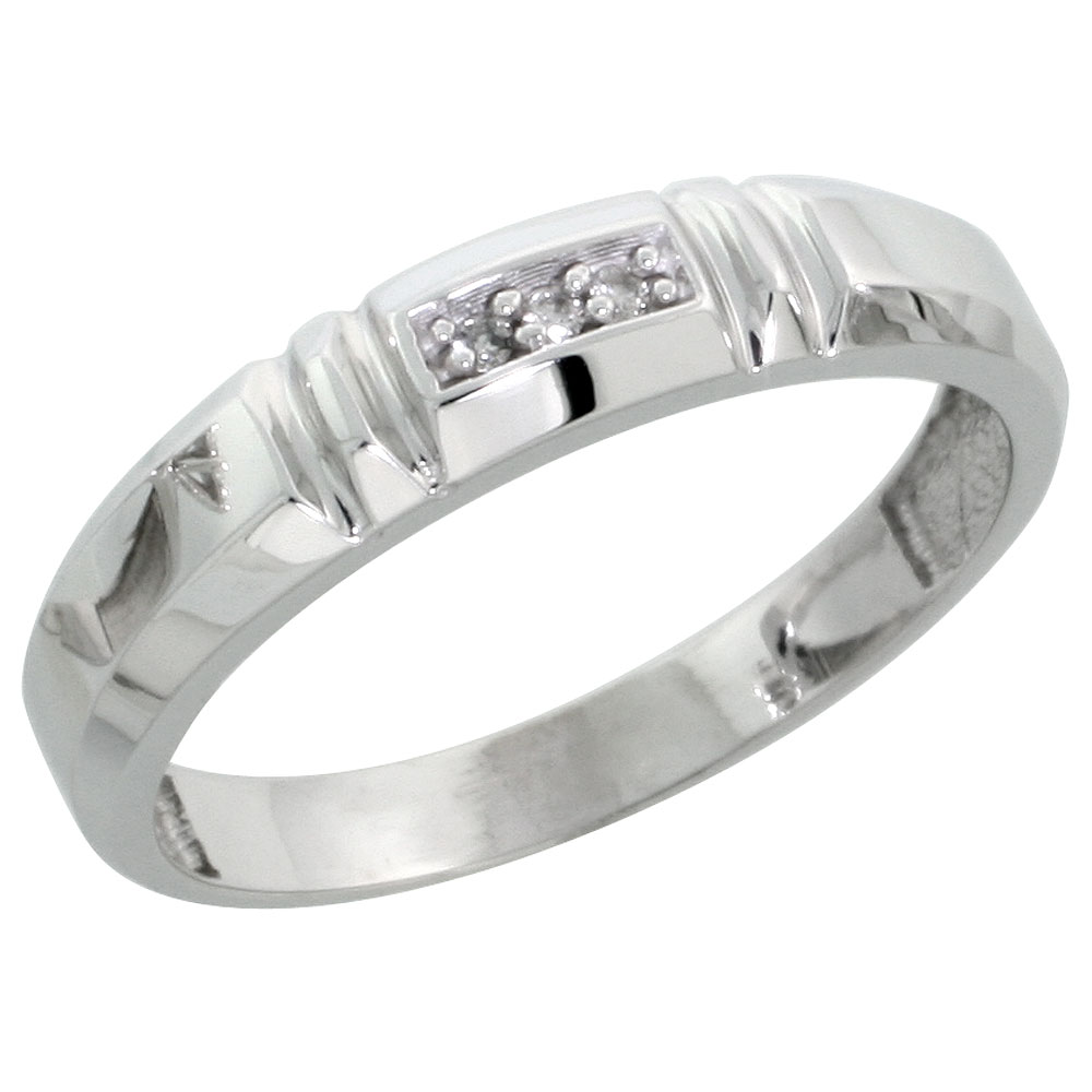 Sterling Silver Ladies' Diamond Wedding Band Rhodium finish, 5/32 inch wide