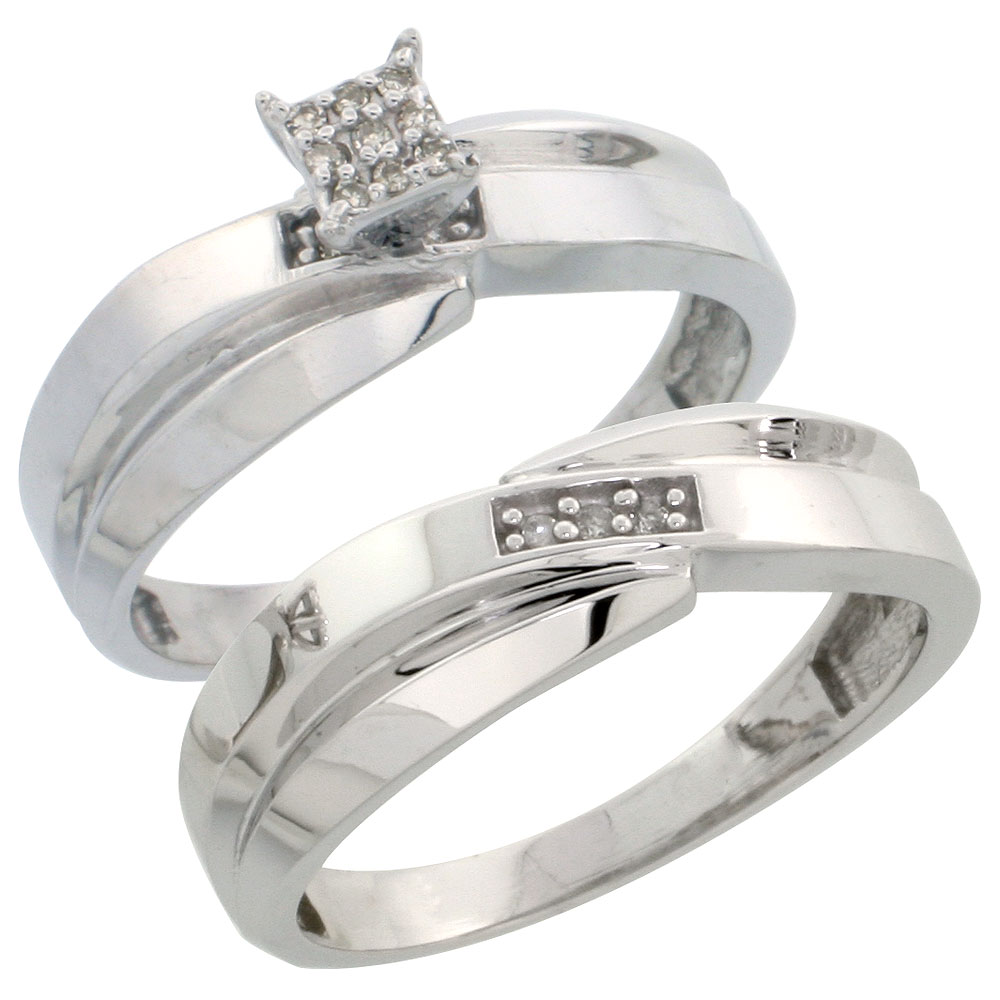 Sterling Silver Ladies? 2-Piece Diamond Engagement Wedding Ring Set Rhodium finish, 1/4 inch wide