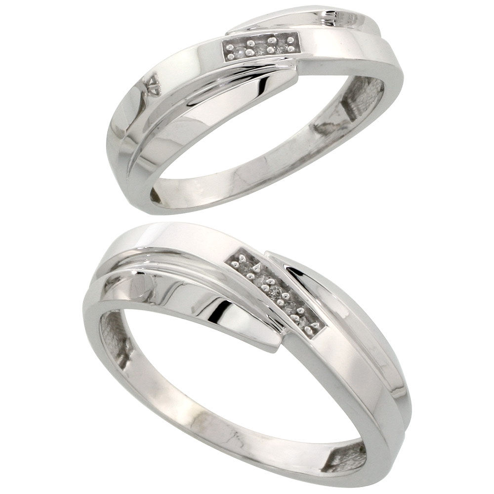 Sterling Silver Diamond 2 Piece Wedding Ring Set His 7mm & Hers 6mm Rhodium finish, Men's Size 8 to 14