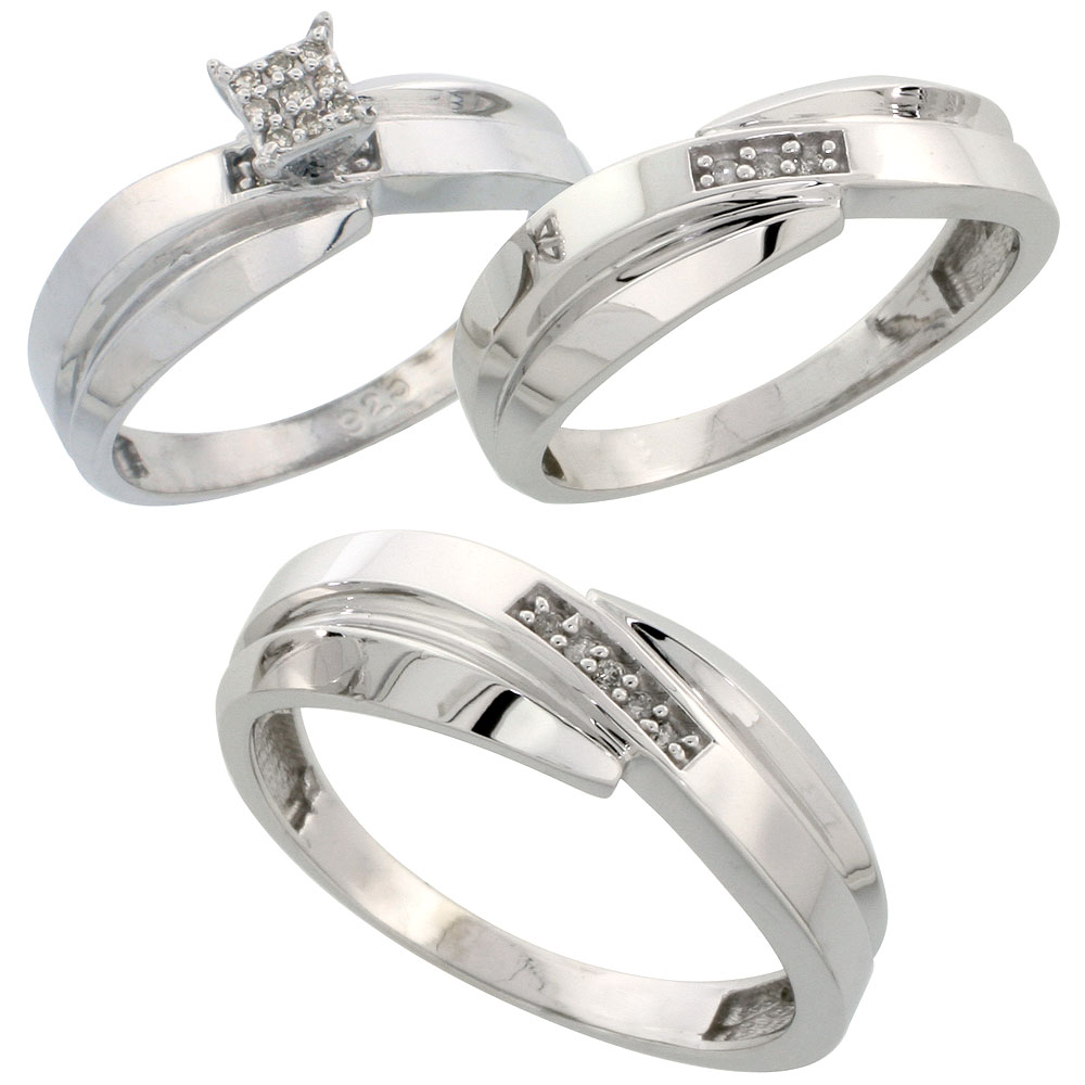 Sterling Silver Diamond Trio Wedding Ring Set His 7mm & Hers 6mm Rhodium finish, Men's Size 8 to 14