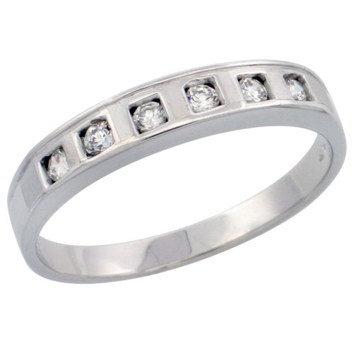 Sterling Silver Ladies' Wedding Ring CZ Stones Rhodium Finish, 5/32 in. 4 mm, sizes 5 to 10