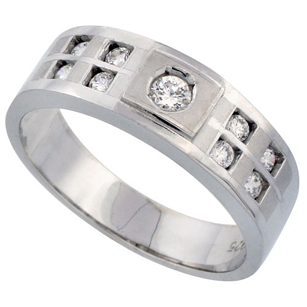 Sterling Silver Men's Wedding Ring CZ Stones Rhodium Finish, 9/32 in. 7 mm, sizes 8 to 14