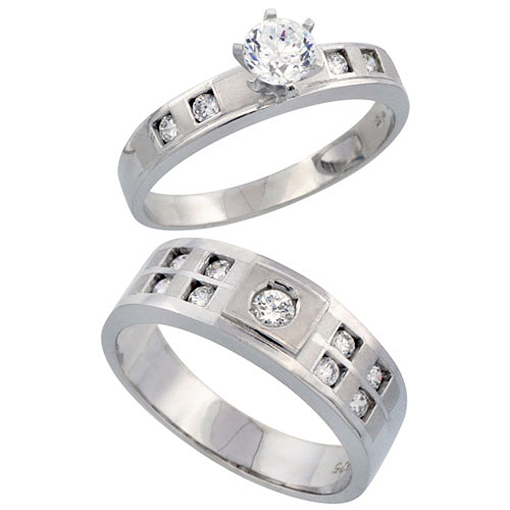 home wedding rings Sterling Silver 2 Piece His 7mm Her 4mm Engagement Ring Set CZ Stones Rhodium
