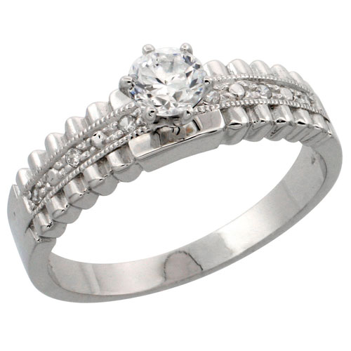 Sterling Silver Engagement Ring CZ Stones 1/4 in. 6 mm, sizes 5 to 10