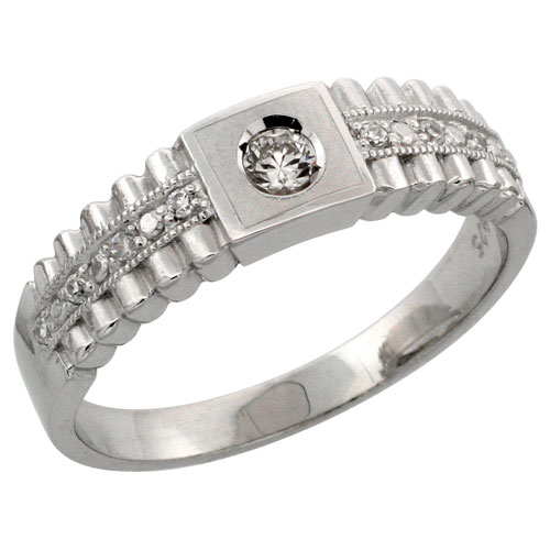 Sterling Silver Ladies' Wedding Ring CZ Stones Rhodium Finish, 1/4 in. 6 mm, sizes 5 - 10