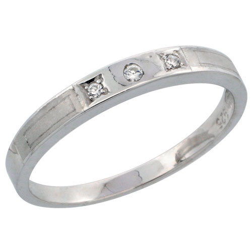 Sterling Silver Ladies' Wedding Ring CZ Stones Rhodium Finish, 1/8 in. 3 mm, sizes 5 - 10
