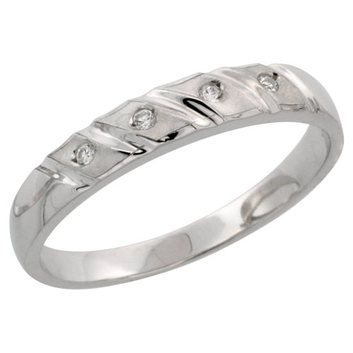 Sterling Silver Ladies' CZ Wedding Ring Band, 5/32 in. (4 mm) wide