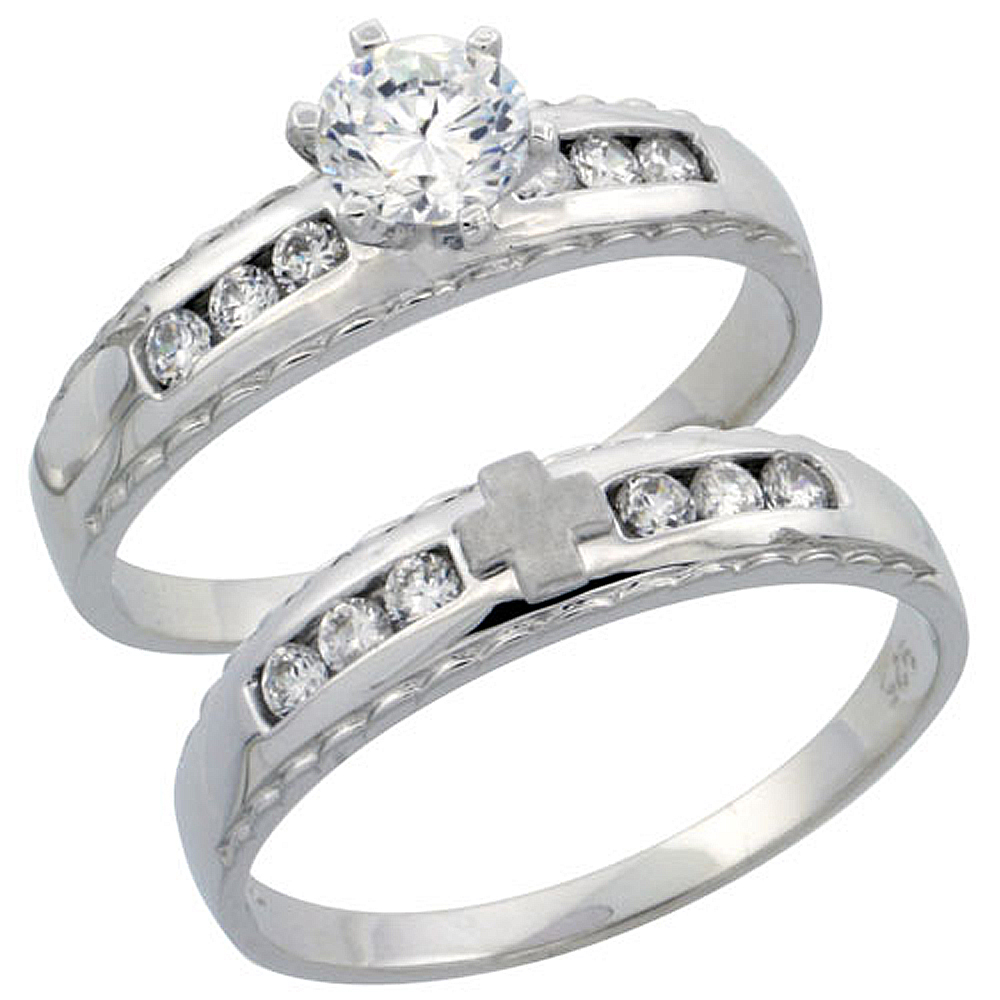 Sterling Silver 2-Piece Engagement Ring Set CZ Stones Rhodium finish, 3/16 in. 5 mm, sizes 5 - 10