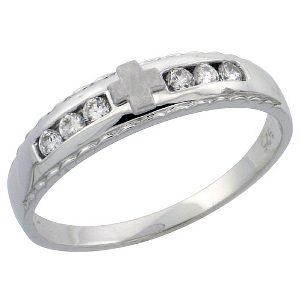 Sterling Silver Ladies' Wedding Ring CZ Stones Rhodium Finish, 3/16 in. 5 mm,