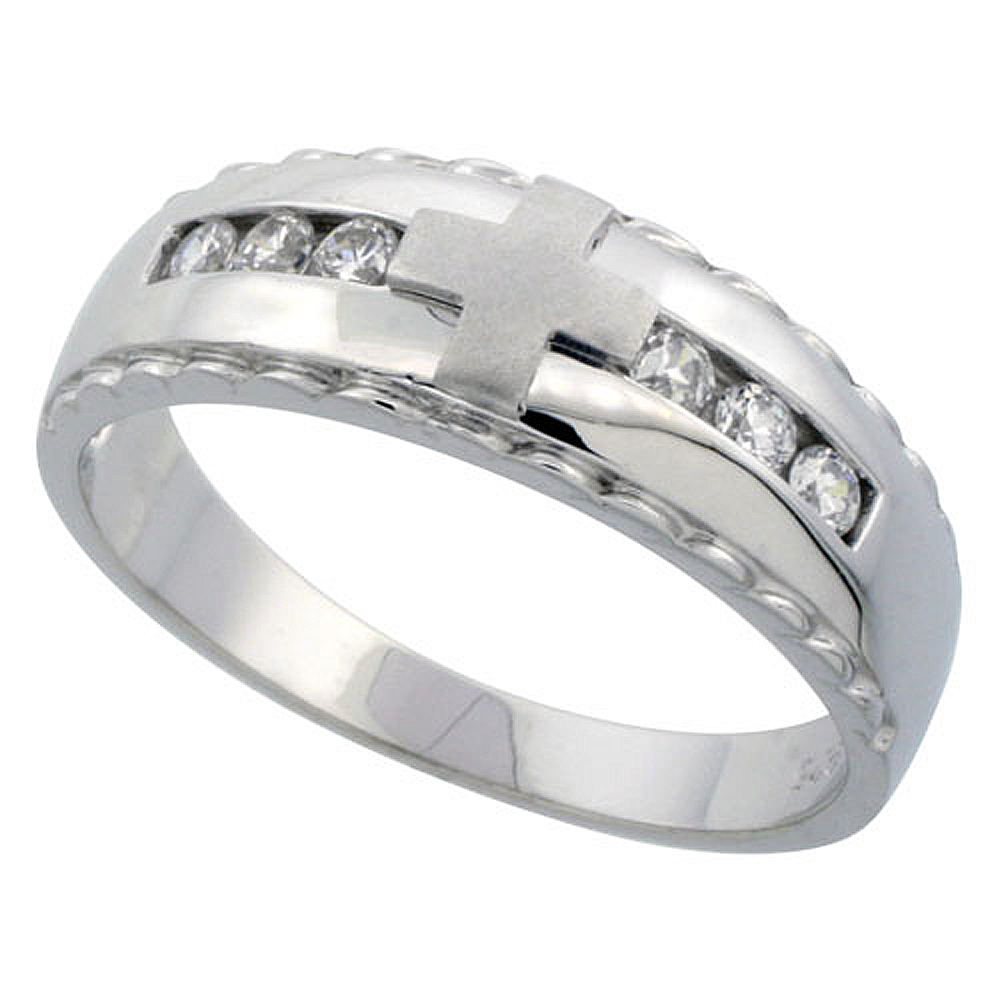 Sterling Silver Men's Wedding Ring CZ Stones Rhodium Finish, 9/32 in. 7 mm,