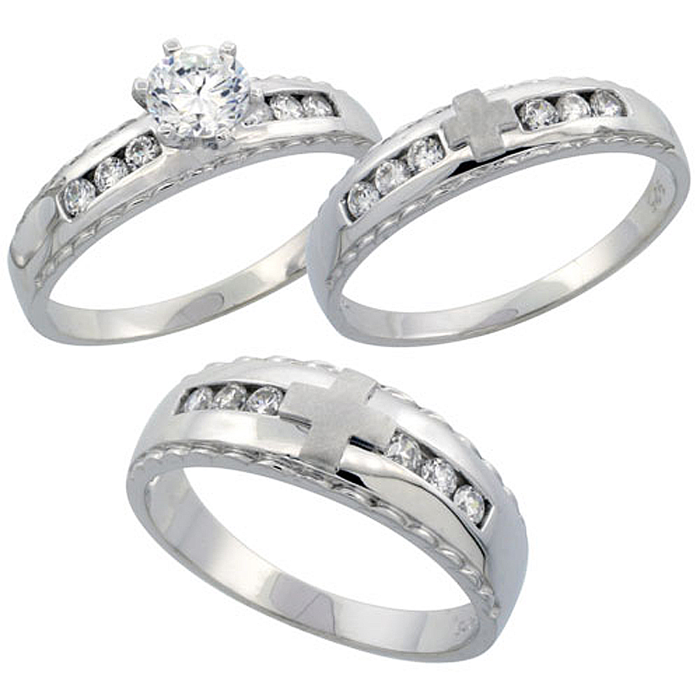 Sterling Silver 3-Piece His 7 mm & Hers 5 mm Trio Wedding Ring Set CZ Stones Rhodium Finish, Ladies sizes 5 - 10, Mens sizes 8 -