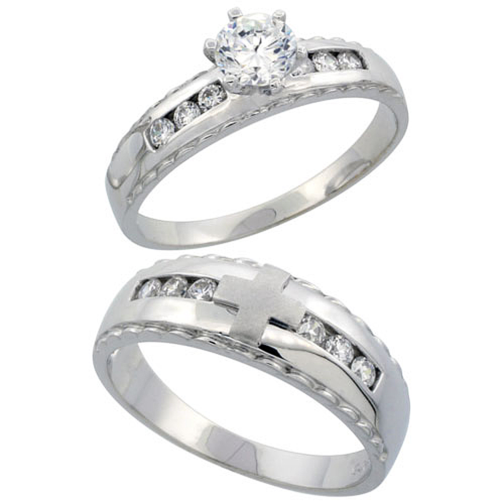 Sterling Silver 2-Piece CZ Ring Set 5mm Engagement Ring & 7mm Man's Wedding Band, Ladies sizes 5 - 10, Mens sizes 8 - 14