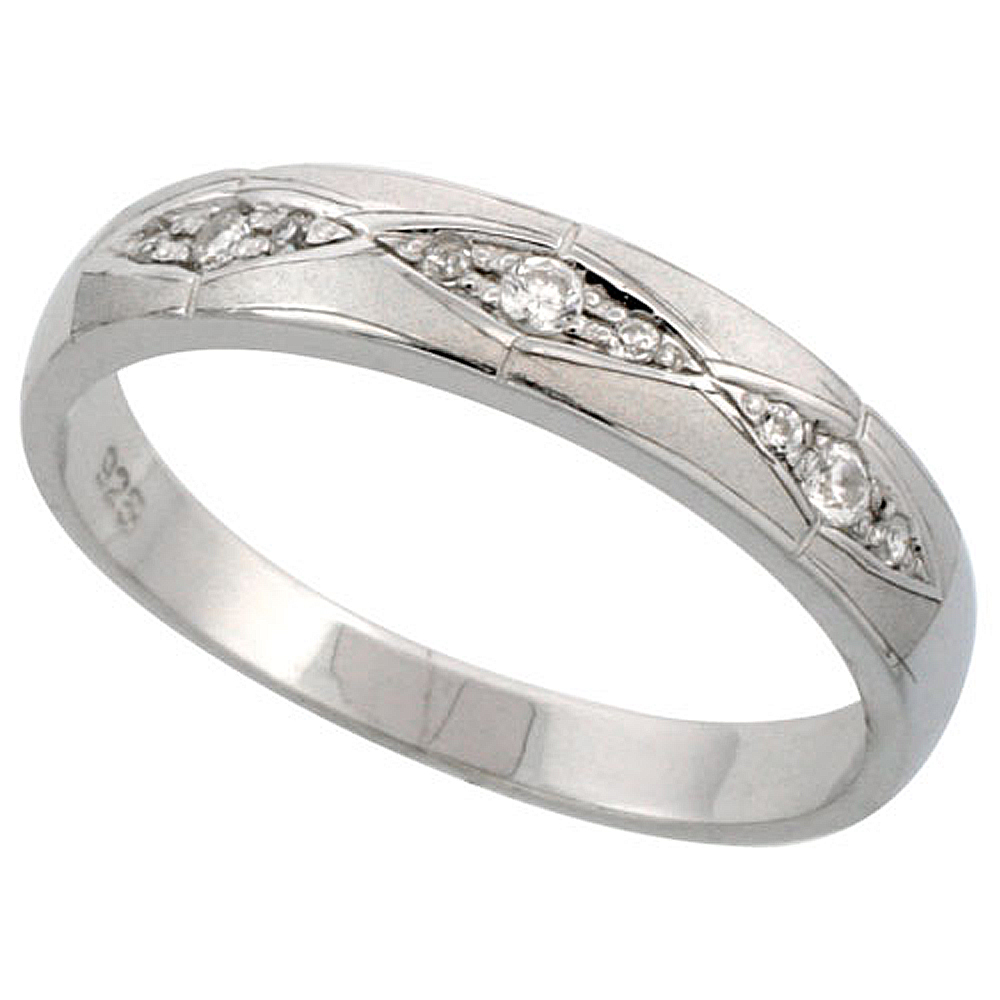 Sterling Silver Men's Wedding Ring CZ Stones Rhodium Finish, 3/16 in. 4.5 mm,