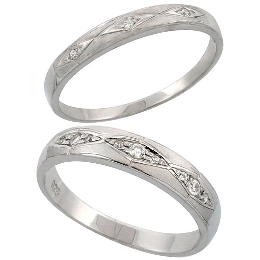 Sterling Silver 2-Piece His 4.5 mm & Hers 3 mm Wedding Ring Set CZ Stones Rhodium Finish, Ladies sizes 5 - 10, Mens sizes 8 - 14