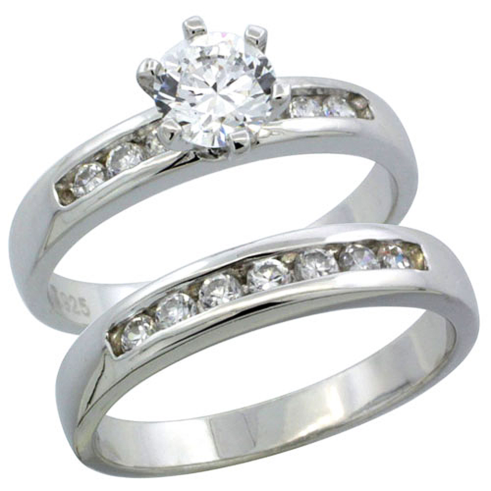 Sterling Silver Cubic Zirconia Ladies� Engagement Ring Set 2-Piece Classic Channel Set, 1/8 inch wide