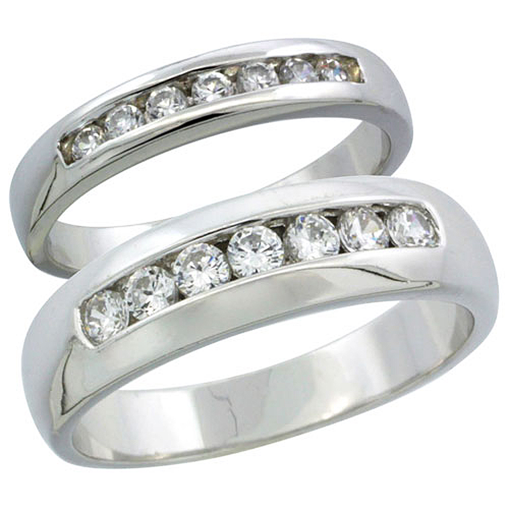 Sterling Silver Cubic Zirconia Wedding Band Ring 2-Piece Set 6 mm Him & Hers 3.5 mm Classic Channel Set, Sizes M 8-14 L 5-10