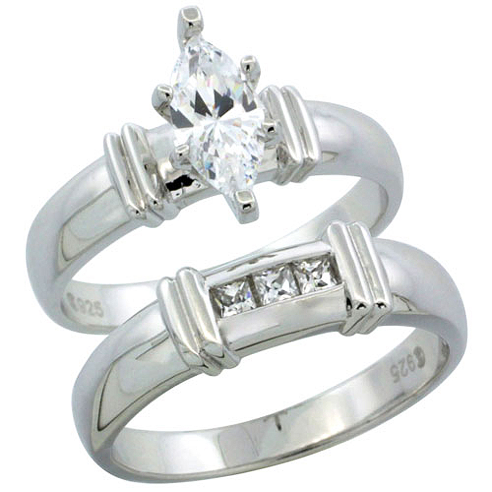 Sterling Silver Cubic Zirconia Ladies� Engagement Ring Set 2-Piece Channel Set Princess, 3/16 inch wide