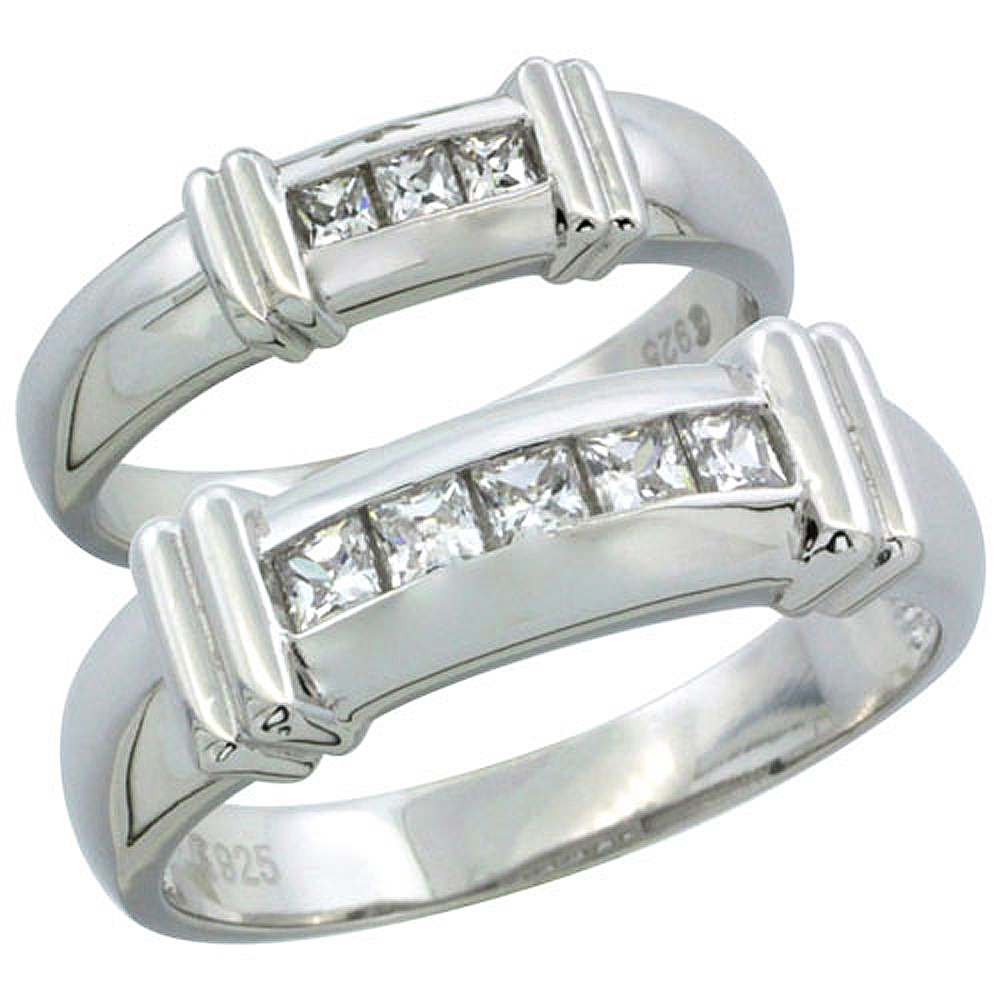 Sterling Silver Cubic Zirconia Wedding Band Ring 2-Piece Set 6.5 mm Him & Hers 5 mm Channel Set Princess, Sizes M 8-14 L 5-10
