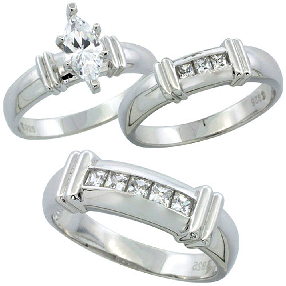 Sterling Silver Cubic Zirconia Trio Engagement Wedding Ring Set for Him and Her 6.5 mm Channel Set Princess, L 5 - 10 & M 8 - 14