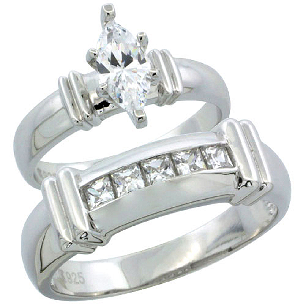 Sterling Silver Cubic Zirconia Engagement Rings Set for Him & Her Channel Set Princess 6.5mm