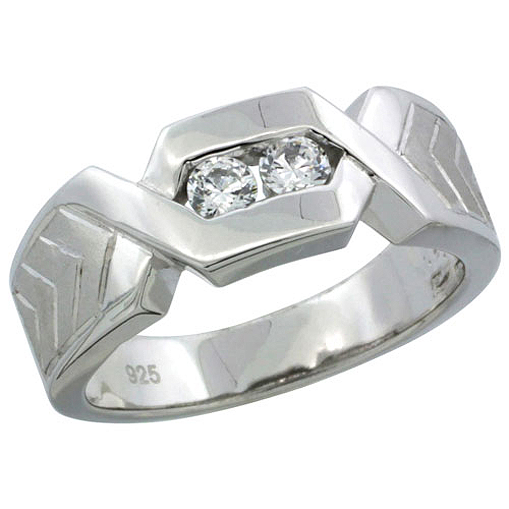 Sterling Silver Cubic Zirconia Mens Wedding Band Ring Chevron Pattern Channel Set, 9/32 inch wide