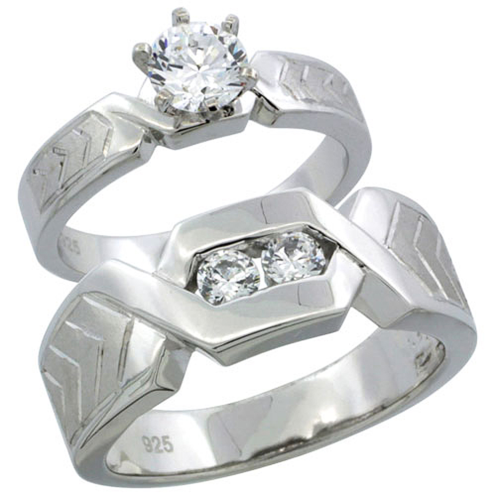 Sterling Silver Cubic Zirconia Engagement Rings Set for Him & Her Chevron Pattern Channel Set 7.5mm Man's Wedding Band )