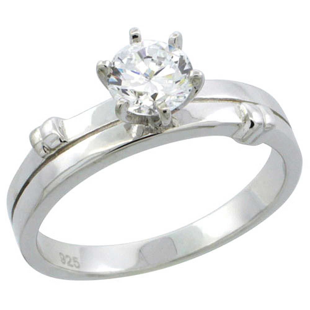 Sterling Silver Cubic Zirconia Solitaire Engagement Ring 1 ct size Brilliant cut, 3/16 inch wide