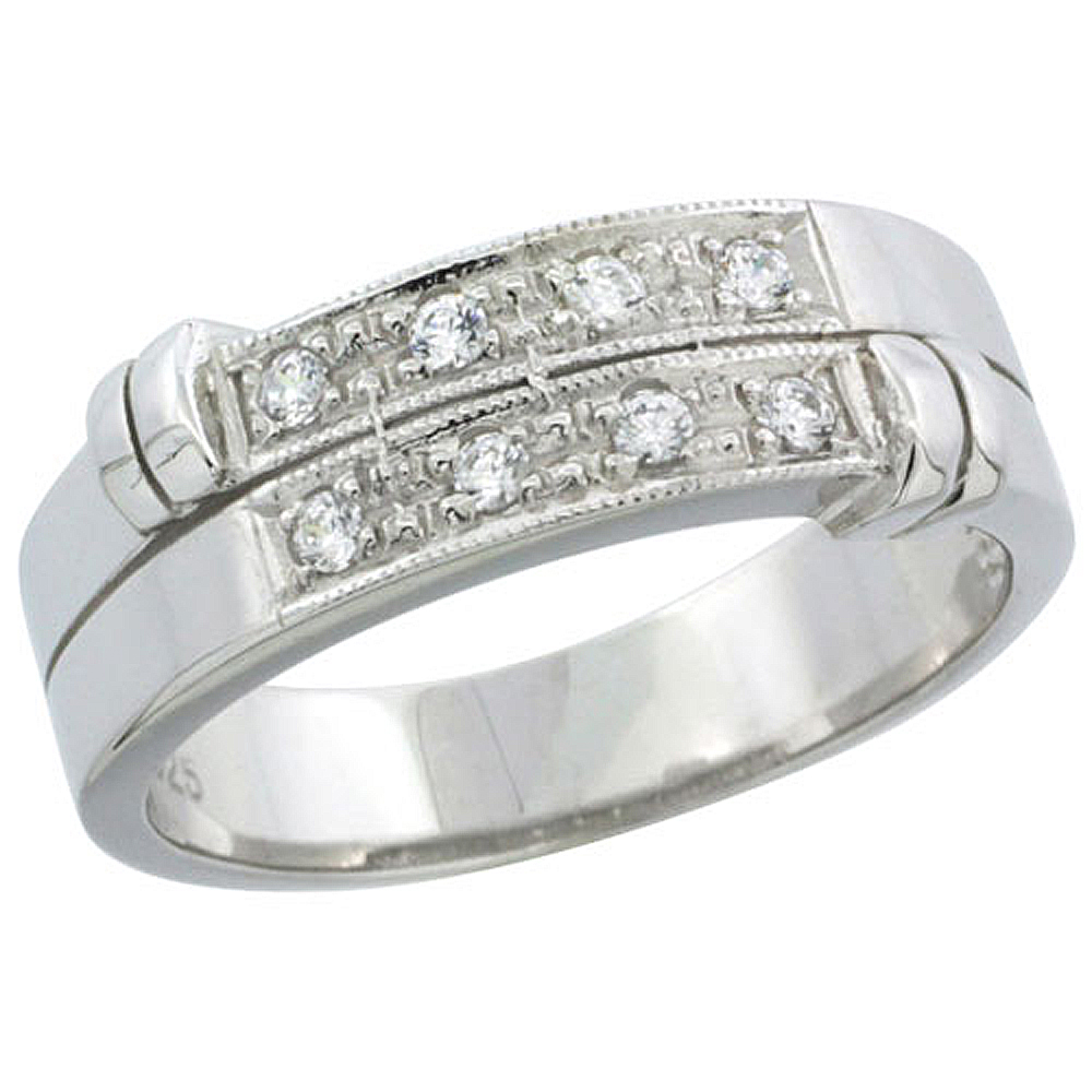 Sterling Silver Cubic Zirconia Mens Wedding Band Ring, 1/4 inch wide