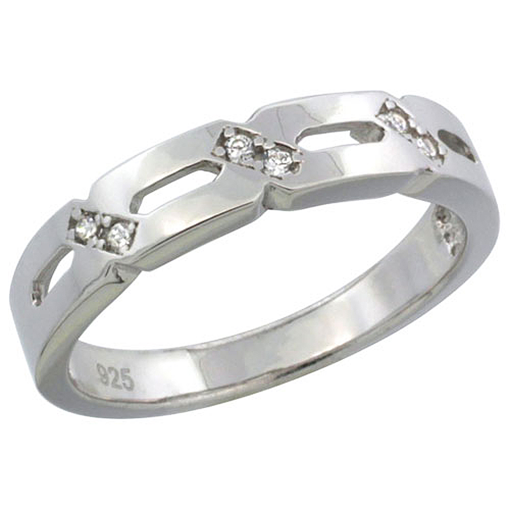 Sterling Silver Cubic Zirconia Ladies' Wedding Band Ring, 5/32 inch wide