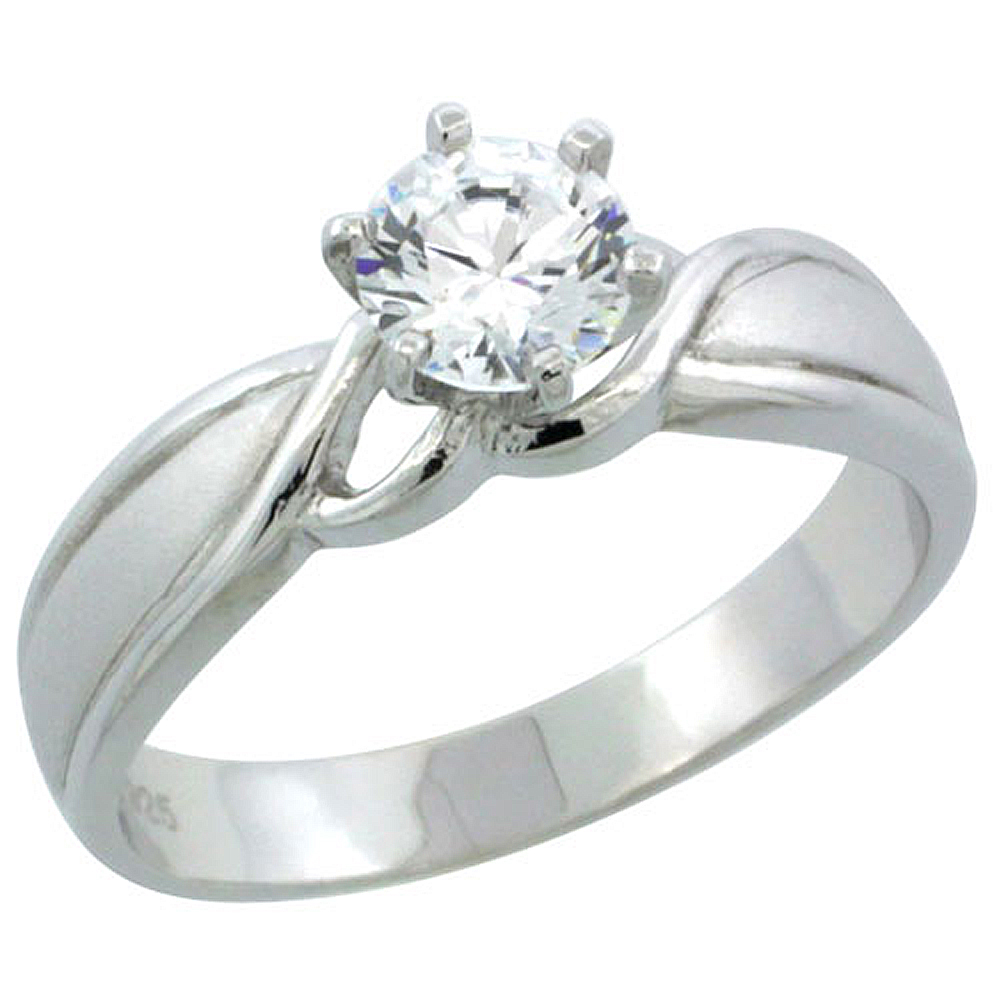 Sterling Silver Cubic Zirconia Solitaire Engagement Ring 3/4 ct size Brilliant cut, 3/16 inch wide