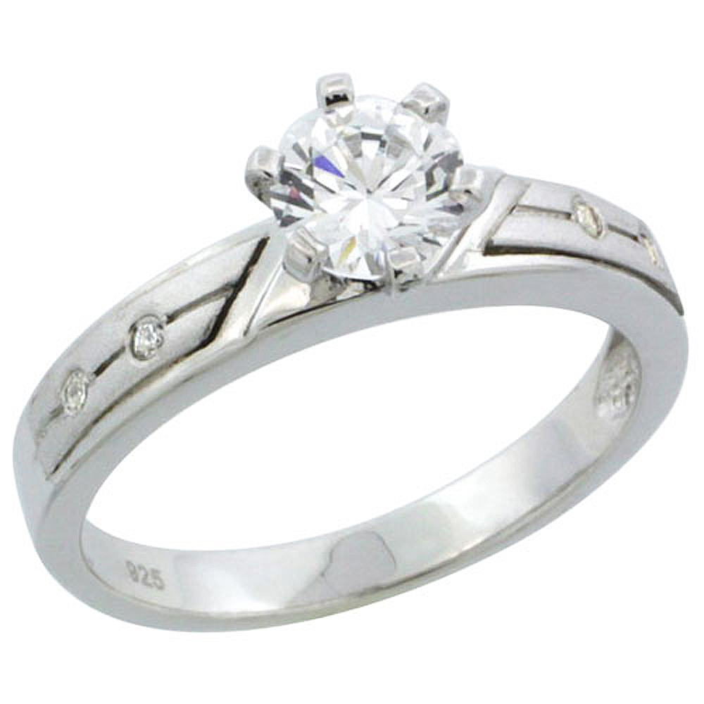 Sterling Silver Cubic Zirconia Solitaire Engagement Ring 1 ct size Brilliant cut, 1/8 inch wide