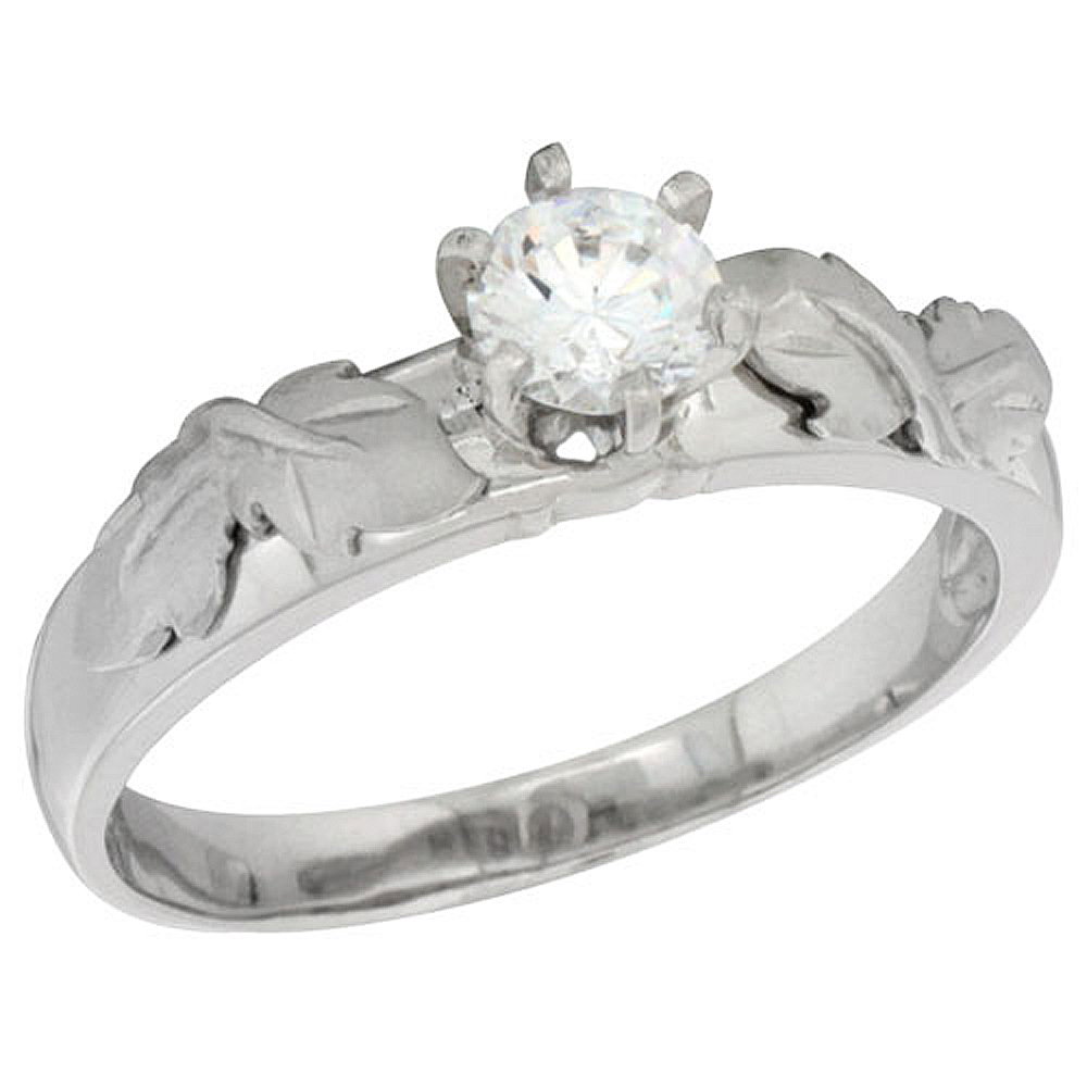 Sterling Silver Cubic Zirconia Solitaire Engagement Ring 1 ct size Brilliant cut 3/16 inch wide