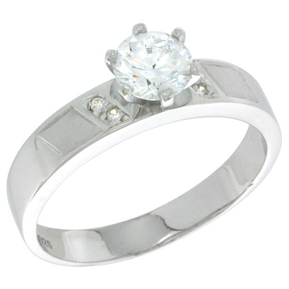 Sterling Silver Cubic Zirconia Solitaire Engagement Ring 1 ct size Brilliant Cut 5/32 inch wide